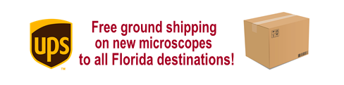 UPS Logo Free Ground Shipping on New Microscopes